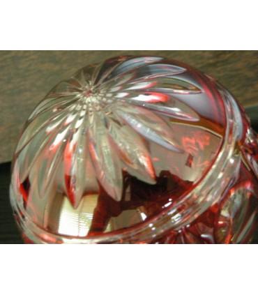 Boule de rampe d'escalier en Cristal double rouge ciselé main