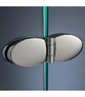 Charnière elliptique montage verre sur verre pour porte de douche