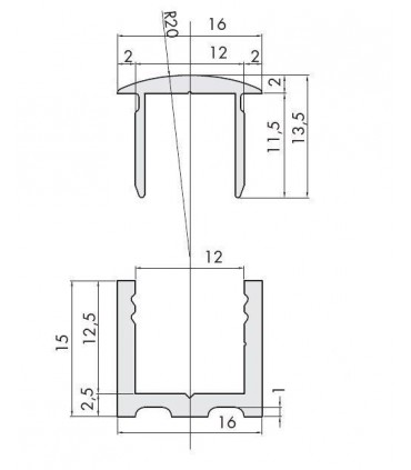 Profil aluminium avec capot technique