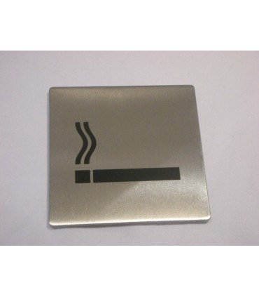 Pictogramme inox 75 x 75 mm espace fumeur