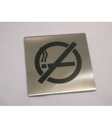 Pictogramme inox 75 x 75 mm espace non fumeur