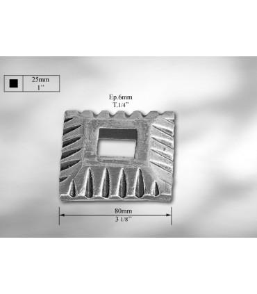 Platine cache-scellement pour carré de 25 mm