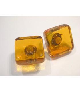 Poignée bouton en verre carré
