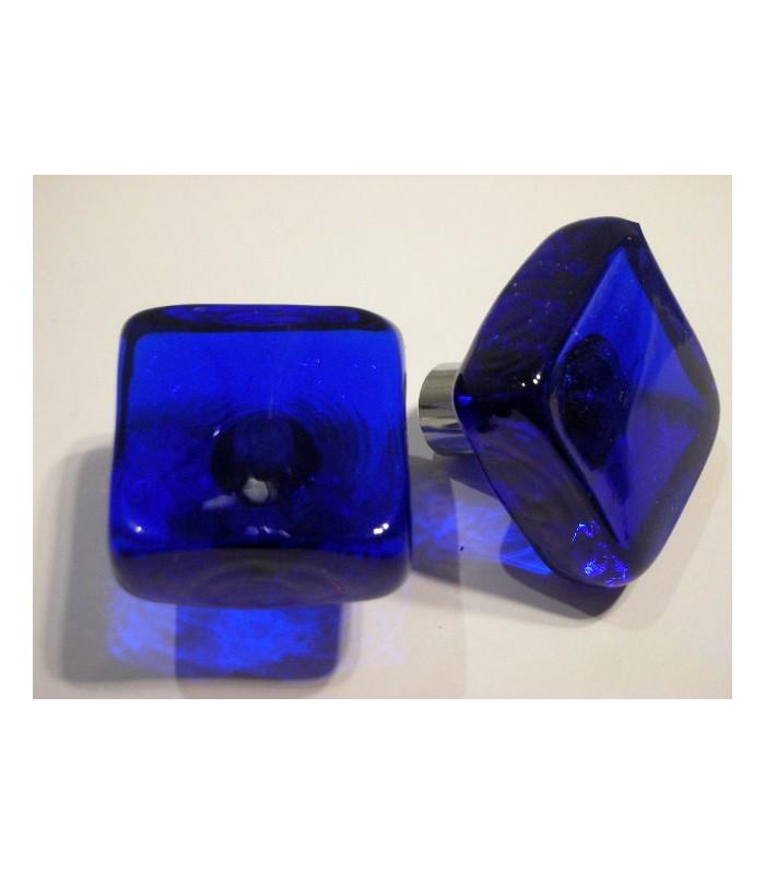 Poignée bouton verre carré bleu cobalt
