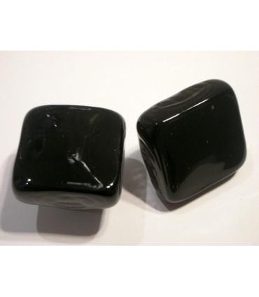 Poignée bouton verre carré noir