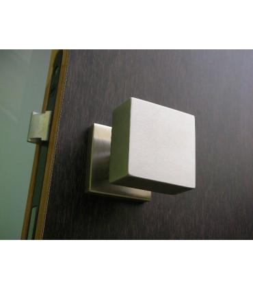 Poignée bouton carré inox brossé