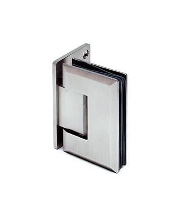 Charnière sur platine déportée pour porte de douche en verre