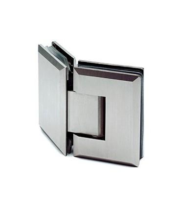 Charnière 135° inox brossé verre / verre