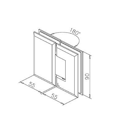 Charnière 180° verre / verre technique