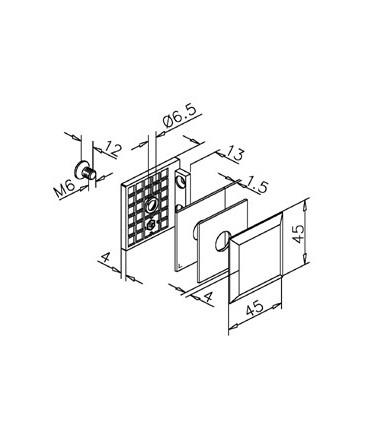 Fixation mur / verre 90° technique