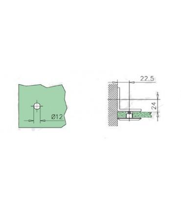 Fixation mur / verre 90° encoche