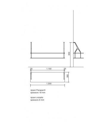 Set de deux supports avec étagères verre et parapan