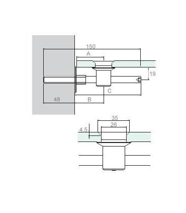 Support variable pour étagère en verre technique