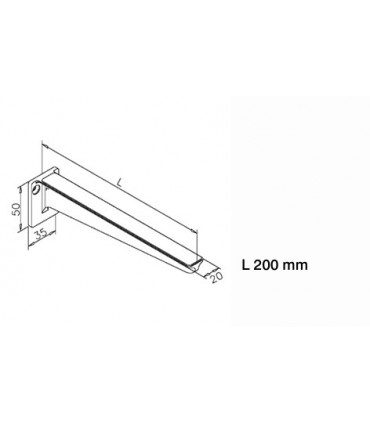 Support d'étagère sur platine technique lg.200