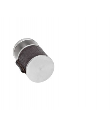 Poignée bouton fixe série Skin cuir brun