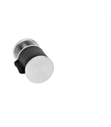 Poignée bouton fixe série Skin cuir noir