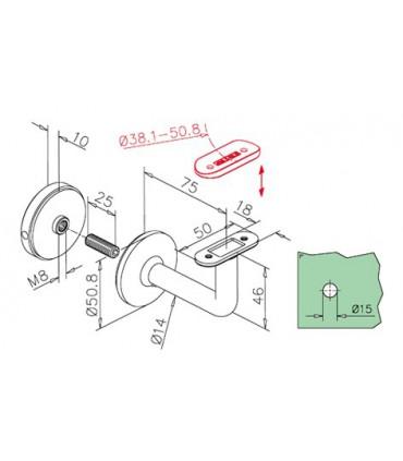 Support de main courante sur verre série 121 technique