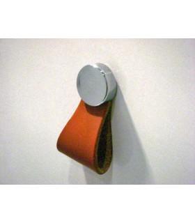 Bouton de meuble cuir base ronde