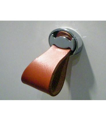 Bouton cuir base ovale chromé brillant