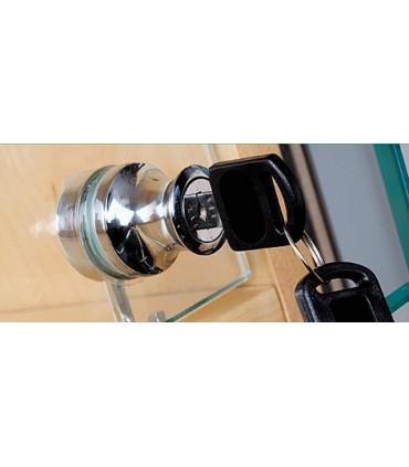 Serrure à cylindre pour porte de vitrine en verre