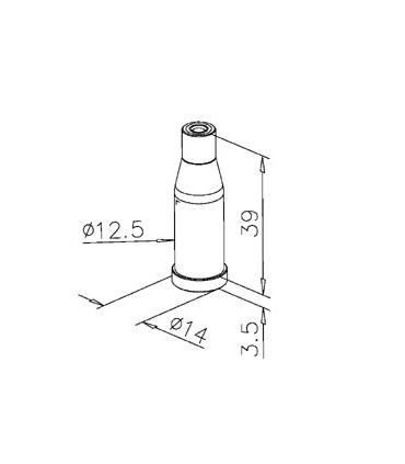 Fixation haute ou basse pour câble Ø 2.5 mm
