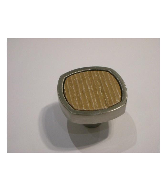 Bouton Quattro bois et nickel couleur dune