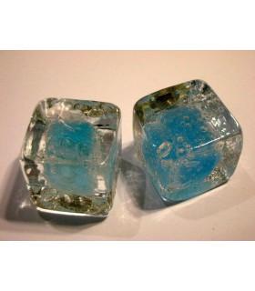 Poignée bouton en verre type glaçon