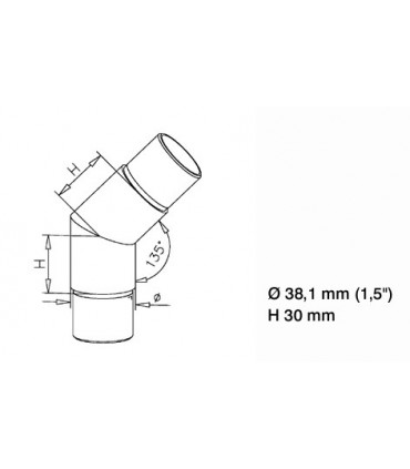 Raccord 45° pour tube Ø 38 mm technique
