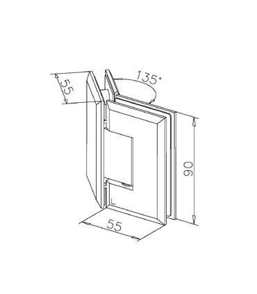 Charnière 135° verre / verre technique