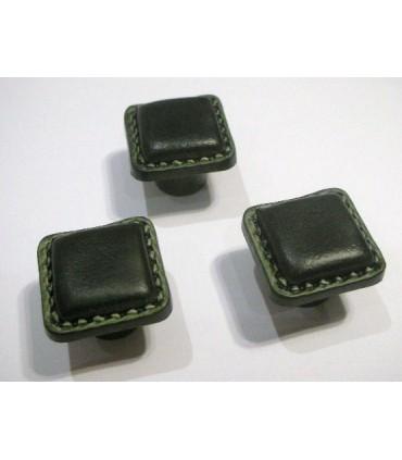 Bouton cuir vert