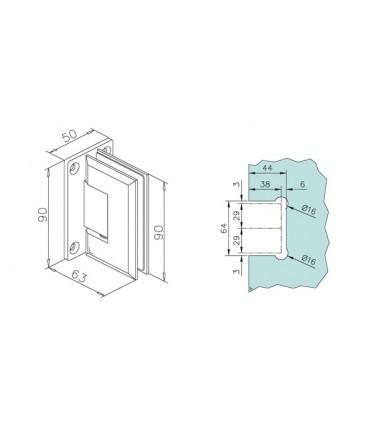 Charnière 90° pour porte en verre encoche