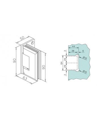 Charnière 90° pour porte en verre