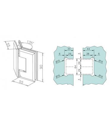 Charnière 135° verre / verre
