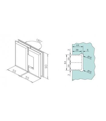 Charnière 180° verre / verre