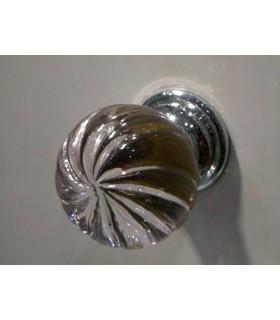 Poignée bouton spirale en verre