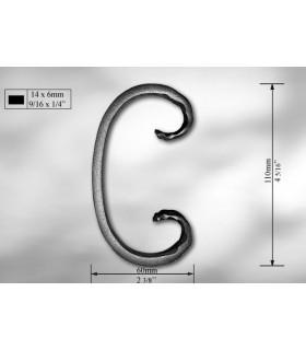 Volutes en méplat de 14 x 6 mm