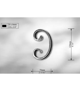 Volutes en méplat de 20 x 6 mm