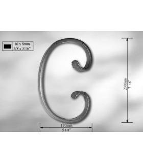 Volutes en méplat de 16 x 8 mm