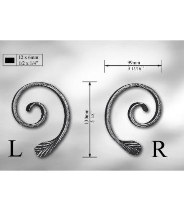 Volutes en méplat de 12 x 6 mm droite ou gauche