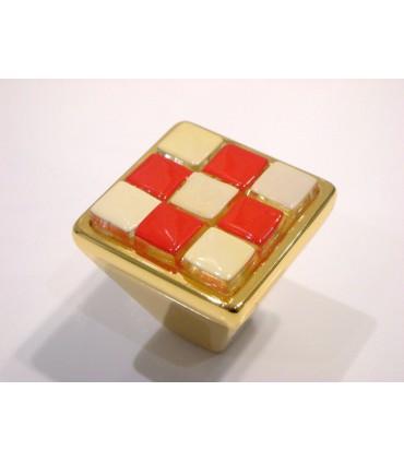 Poignée bouton Breba Damier orange-crème