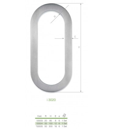 Set de deux poignées inox brossé a coller hauteur 150 mm