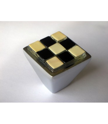 Poignée bouton Breba Damier noir-crème