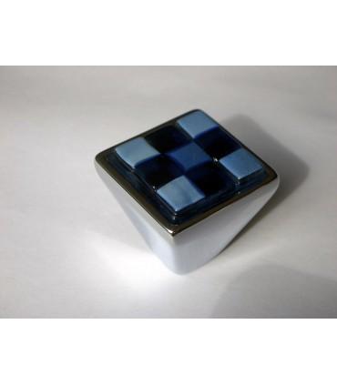 Poignée bouton Breba damier bleu nuit-ciel