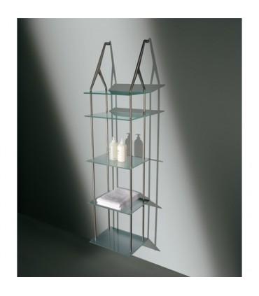 Set de deux supports MS14383 par Confalonieri avec 5 étagères en verre