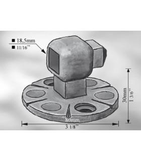 Platine pour traverse carré de 18 mm