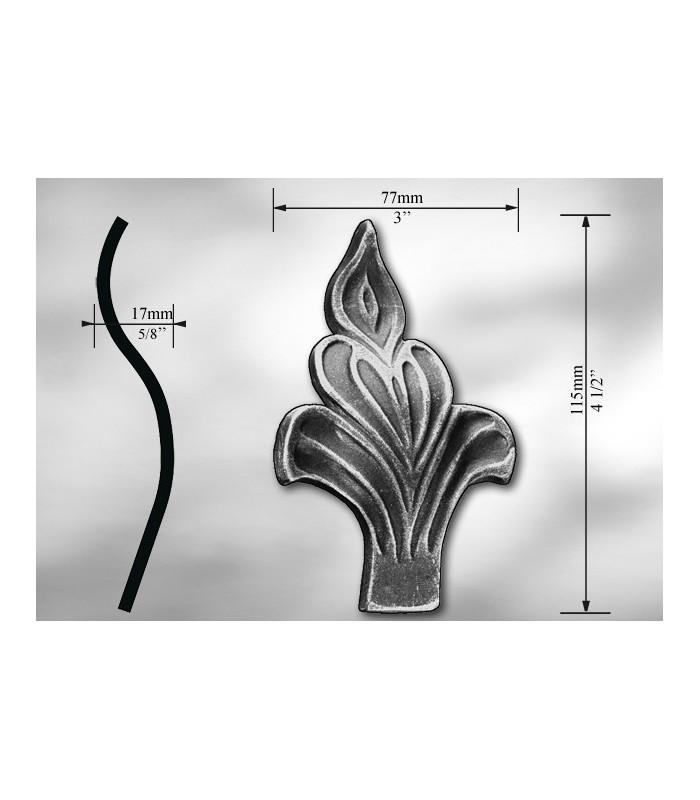 Elément décoratif en acier moulé