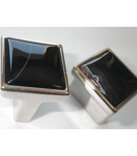 Bouton en marbre noir sur base métal nickel brillant