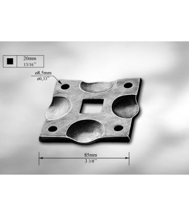 Platine cache scellement pour barre carrée