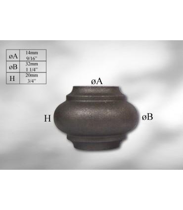 Manchon décoratif en fonte grise hauteur 20 mm
