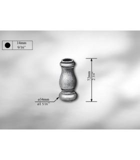 Manchon décoratif en fonte grise hauteur 72 mm